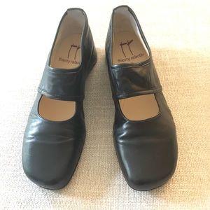 Thierry Rabotin black leather wedge